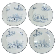 Four Large Vintage French Dinner Plates by Teniers