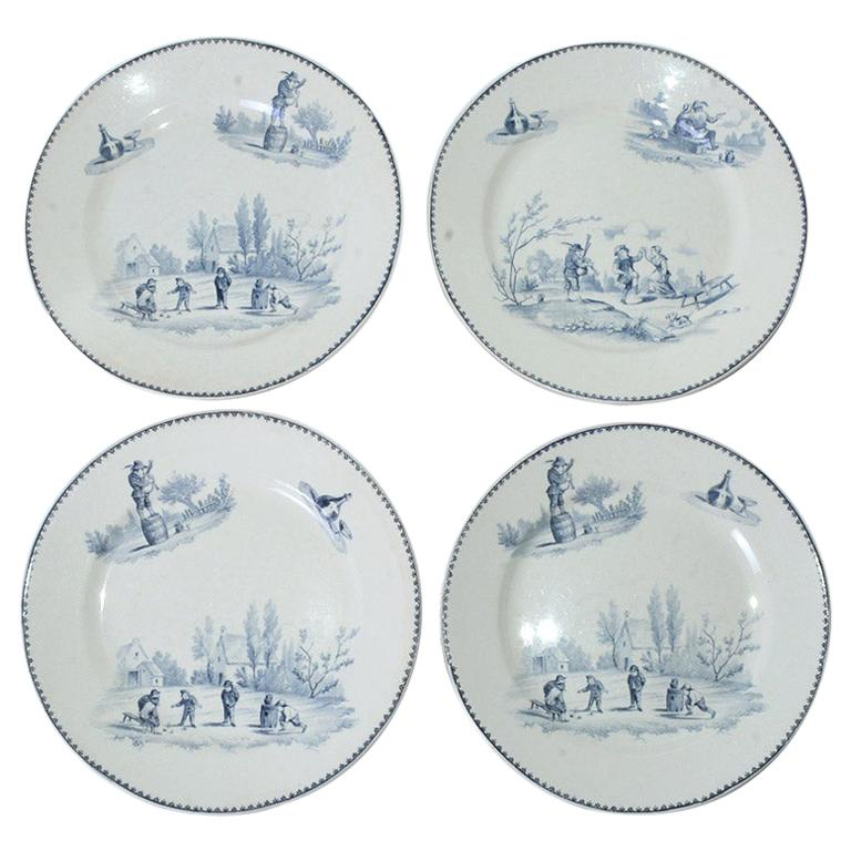 Four Vintage French Dinner Plates by Teniers For Sale