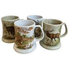 "German ""Black Forest""Mugs Painted with Wild Game; Deer, Rabbits & Mountain Goats"