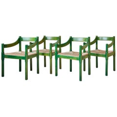 Four Vintage Green Painted Vico Magistretti Wood Carimate Armchairs, Italy, 1959