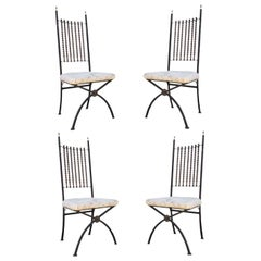 Four Vintage Hollywood Regency Beaded Abacus X-Form Wrought Iron Dining Chairs