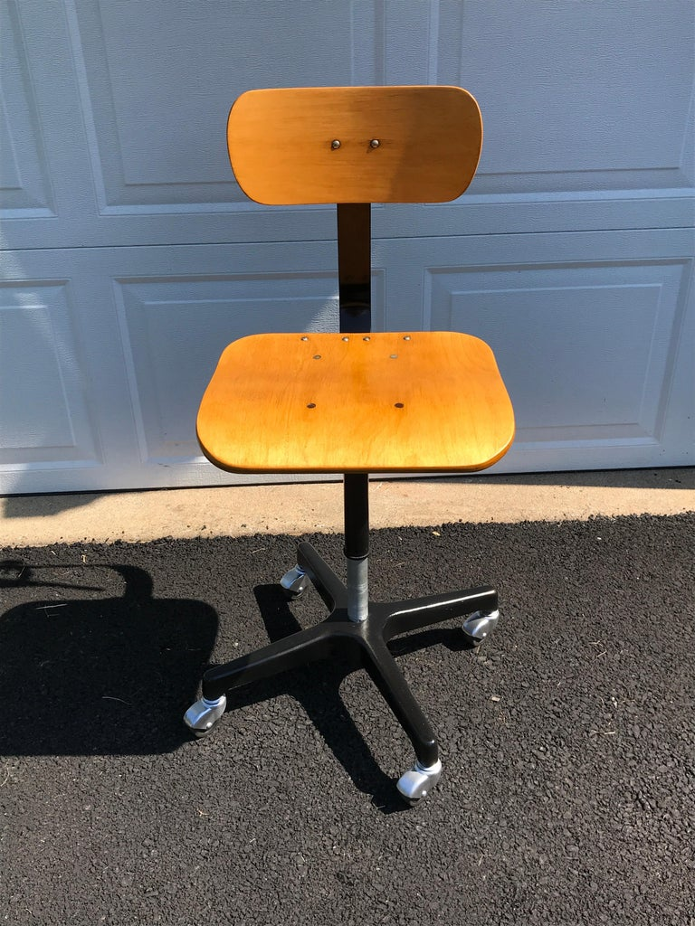 American Four Vintage Industrial Ajustrite Bentwood Drafting Chairs, Restored For Sale