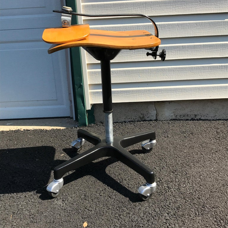 Four Vintage Industrial Ajustrite Bentwood Drafting Chairs, Restored For Sale 2
