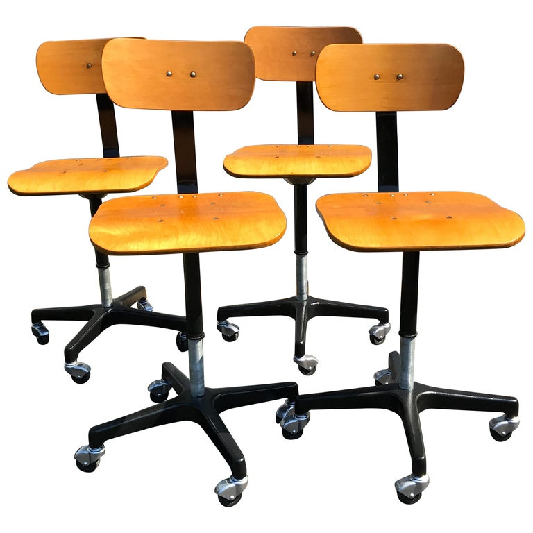 Four Vintage Industrial Ajustrite Bentwood Drafting Chairs, Restored For Sale