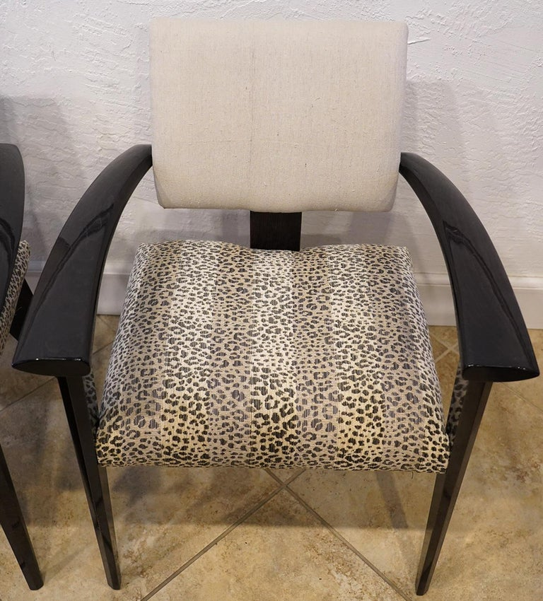 Modern Four Vintage Italian Lacquered Armchairs with Upholstered Seats and Backrests For Sale