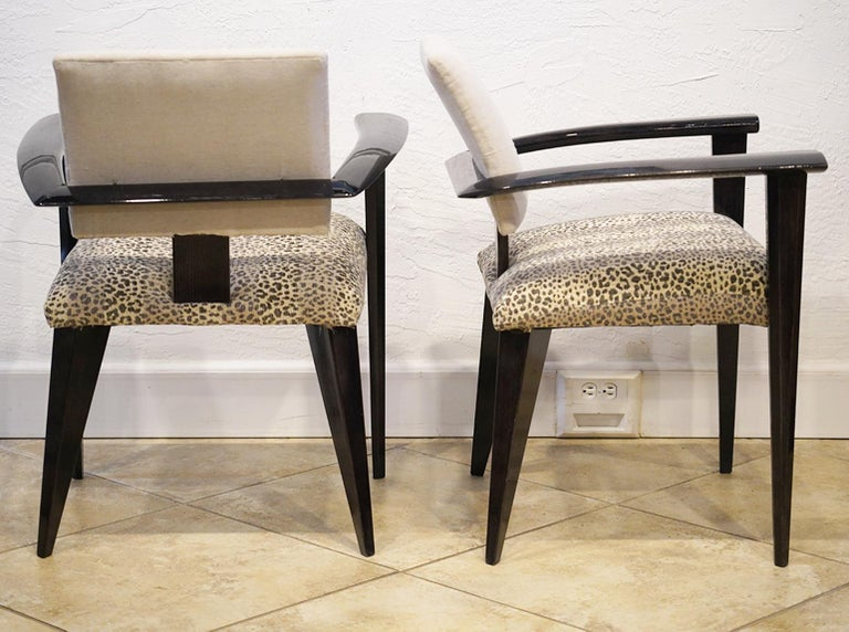 Fabric Four Vintage Italian Lacquered Armchairs with Upholstered Seats and Backrests For Sale