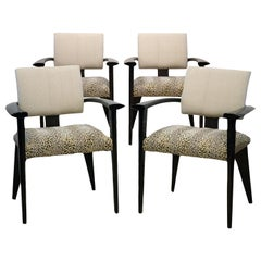 Four Vintage Italian Lacquered Armchairs with Upholstered Seats and Backrests