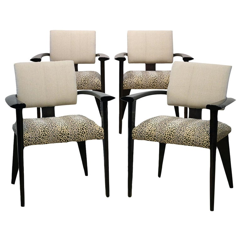 Four Vintage Italian Lacquered Armchairs with Upholstered Seats and Backrests For Sale