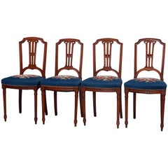 Four Vintage Louis XVI Carved Mahogany and Needlepoint Side Chairs, circa 1940