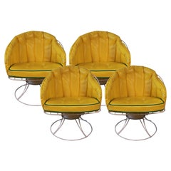 Four Vintage Mid-Century Modern 1960s Homecrest Swivel Barrel Lounge Chairs