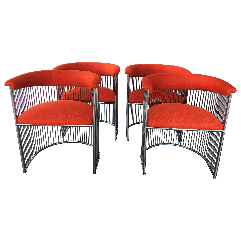Four Vintage Modern Warren Platner Style Dining Chairs
