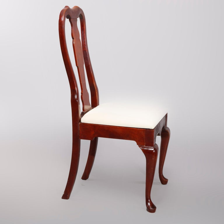 Upholstery Four Vintage Pennsylvania House Cherry Queen Anne Style Dining Chairs For Sale