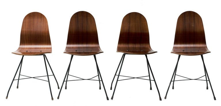 Italian Four Vintage Wooden Chairs by Franco Campo and Carlo Graffi, 1950s For Sale