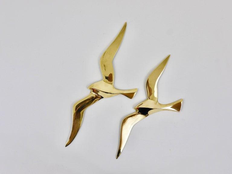 Mid-Century Modern Four Wall-Mounted Midcentury Seagull Bird Brass Sculptures, Austria, 1950s For Sale