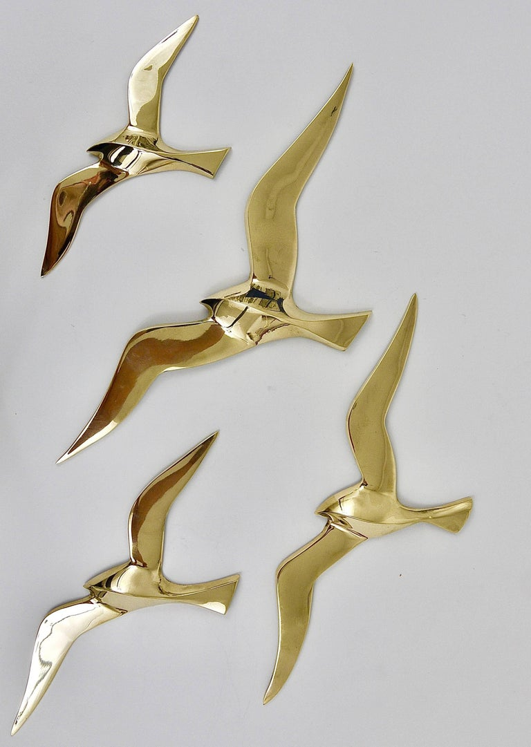 20th Century Four Wall-Mounted Midcentury Seagull Bird Brass Sculptures, Austria, 1950s For Sale