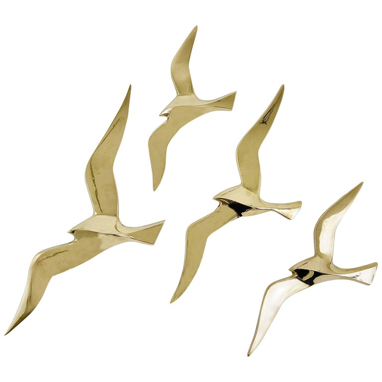 Four Wall-Mounted Midcentury Seagull Bird Brass Sculptures, Austria, 1950s For Sale