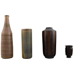 Four Wallåkra Vases in Glazed Ceramics, Swedish Design, 1960s