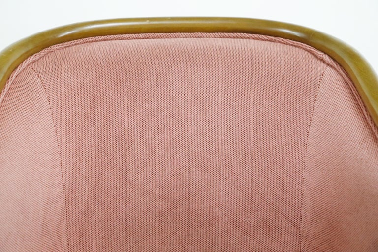 Four Ward Bennett for Brickell Associates Pink Velvet Dining Armchairs, c. 1970 For Sale 6