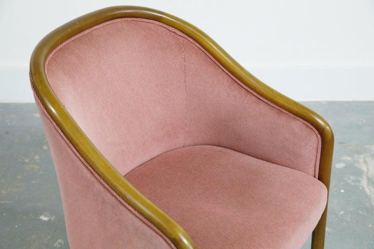 Four Ward Bennett for Brickell Associates Pink Velvet Dining Armchairs, c. 1970 For Sale 7