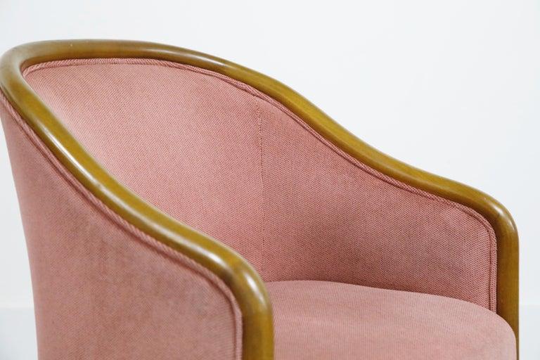 Four Ward Bennett for Brickell Associates Pink Velvet Dining Armchairs, c. 1970 For Sale 8