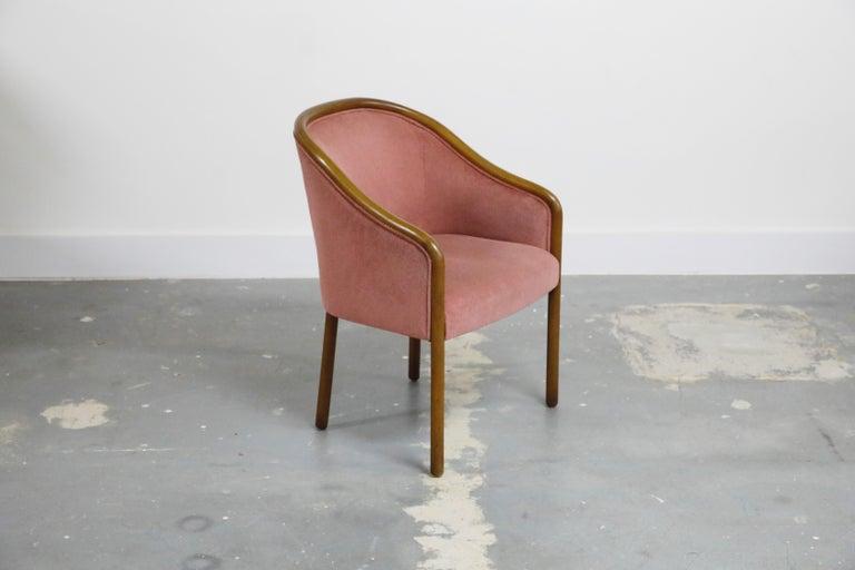 American Four Ward Bennett for Brickell Associates Pink Velvet Dining Armchairs, c. 1970 For Sale