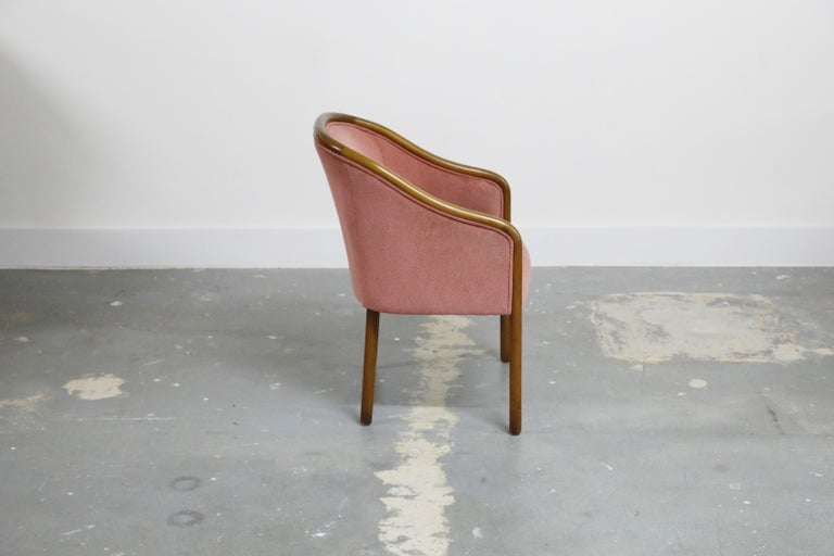Four Ward Bennett for Brickell Associates Pink Velvet Dining Armchairs, c. 1970 In Good Condition For Sale In Los Angeles, CA