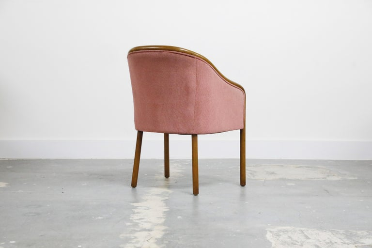 Late 20th Century Four Ward Bennett for Brickell Associates Pink Velvet Dining Armchairs, c. 1970 For Sale