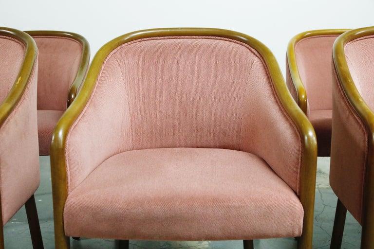 Four Ward Bennett for Brickell Associates Pink Velvet Dining Armchairs, c. 1970 For Sale 2