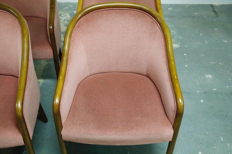 Four Ward Bennett for Brickell Associates Pink Velvet Dining Armchairs, c. 1970 For Sale 3