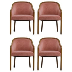 Four Ward Bennett for Brickell Associates Pink Velvet Dining Armchairs, c. 1970