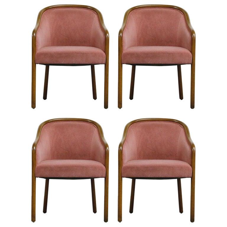 Four Ward Bennett for Brickell Associates Pink Velvet Dining Armchairs, c. 1970 For Sale