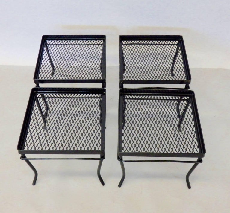 Mid-Century Modern Four Woodard Wrought Iron Side Tables or Stands For Sale