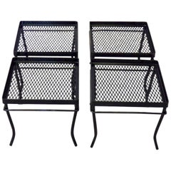 Four Woodard Wrought Iron Side Tables or Stands