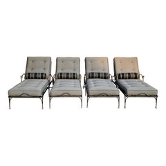 Four Wrought Iron Chaises with Bronze Details in the Style of Giacometti