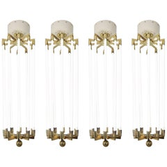 Four Extra Large Brass Chandeliers by Kaiser & Co, Made in Germany circa 1940s