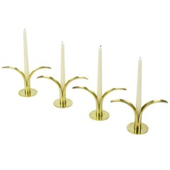 Four Ystad Of Sweden Brass Open Leaf Candlesticks