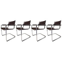 Four Mart Stam Model S33 Chocolate Brown Leather Cantilever Chairs by Fasem