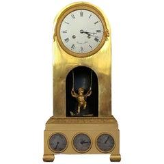 Fournier Louis XVI Mantel Clock, Gilt Bronze, Cupid Pend, Month-day-date France