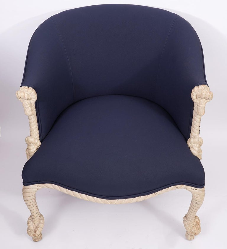 Fournier Style Rope, Knots and Tassel Carved and Painted upholstered Tub Chair In Good Condition In Ft. Lauderdale, FL
