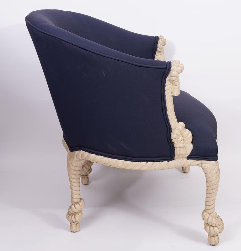 20th Century Fournier Style Rope, Knots and Tassel Carved and Painted upholstered Tub Chair