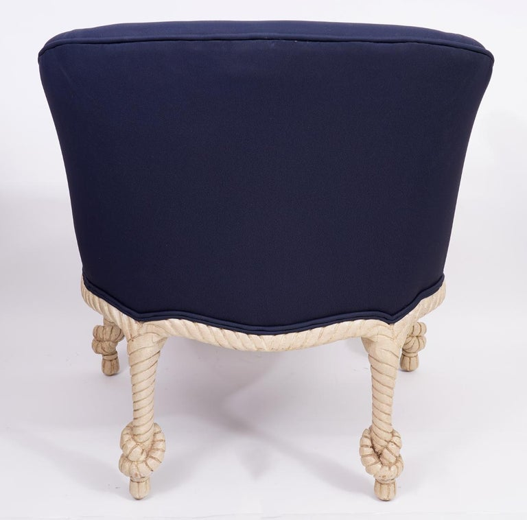 Fournier Style Rope, Knots and Tassel Carved and Painted upholstered Tub Chair 2