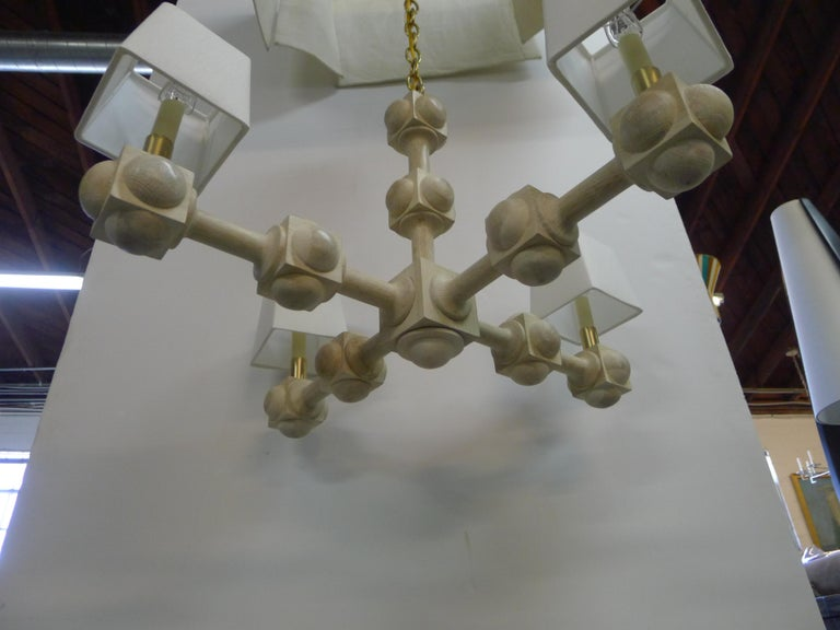 Metal Foursquare Chandelier by Paul Marra For Sale