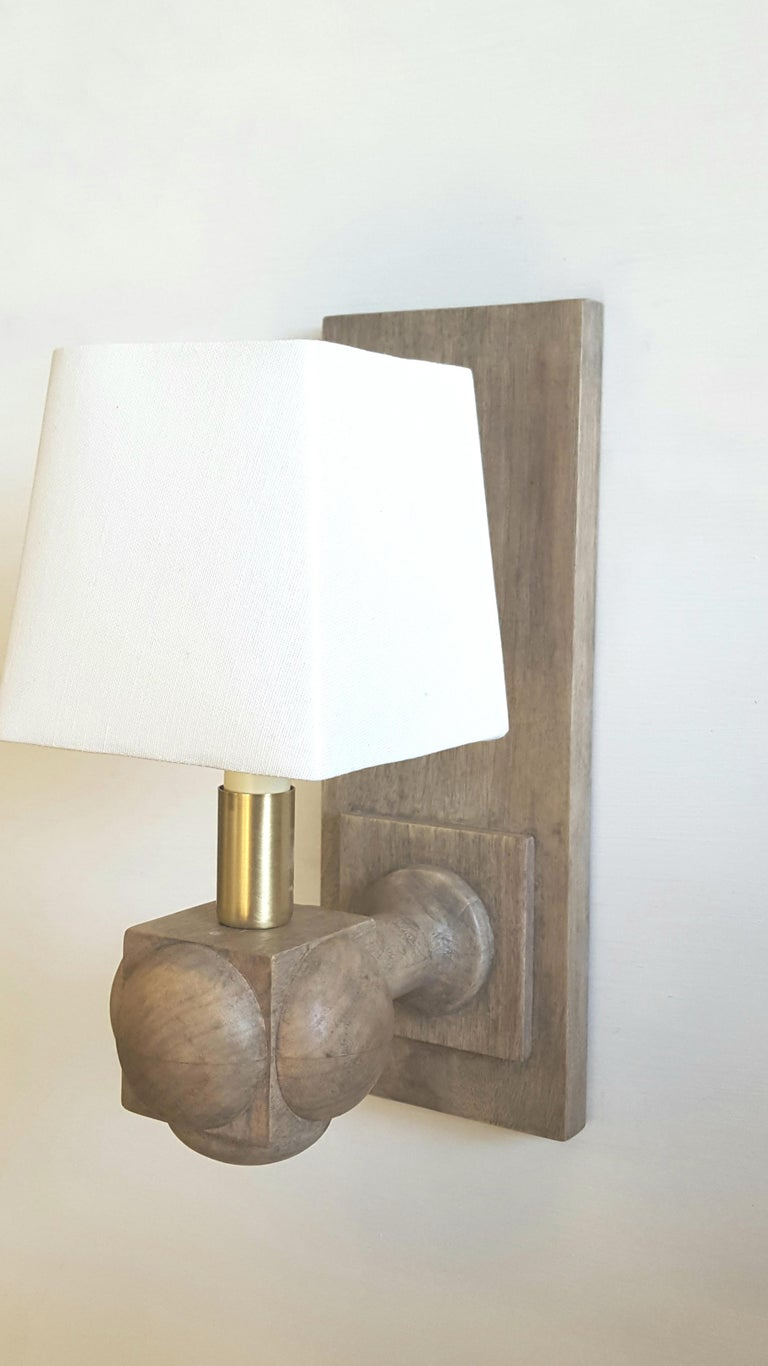 Wood Foursquare Sconce by Paul Marra For Sale
