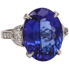 Fourteen Carat Blue Tanzanite and Diamond Ring