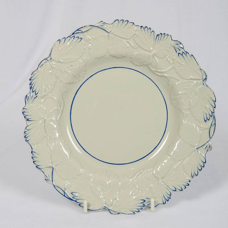Neoclassical Fourteen Drabware Plates Made in England, circa 1840 For Sale