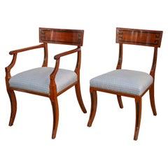 FOURTEEN English Regency Klismos Dining Chairs