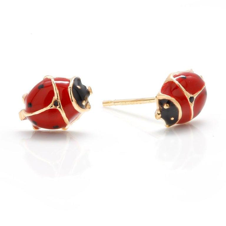 Contemporary 14 Karat Enamel Gold Lady Bug Stud Earrings For Sale