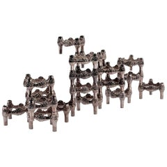 Fourteen Original Nickel-Plated Variomaster Candleholders