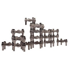 Fourteen Original Nickel-Plated Variomaster Candleholders