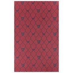 'Fox & Hen' Contemporary, Traditional Wallpaper in Brick